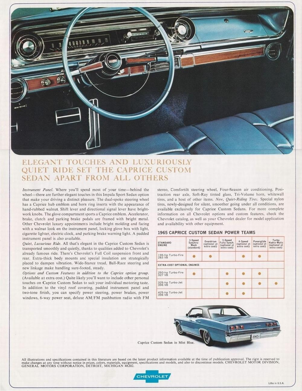 Chevy 3 3 >> Car Brochures - 1965 Caprice brochure / 1965Ccapricebrochurepage4.JPG