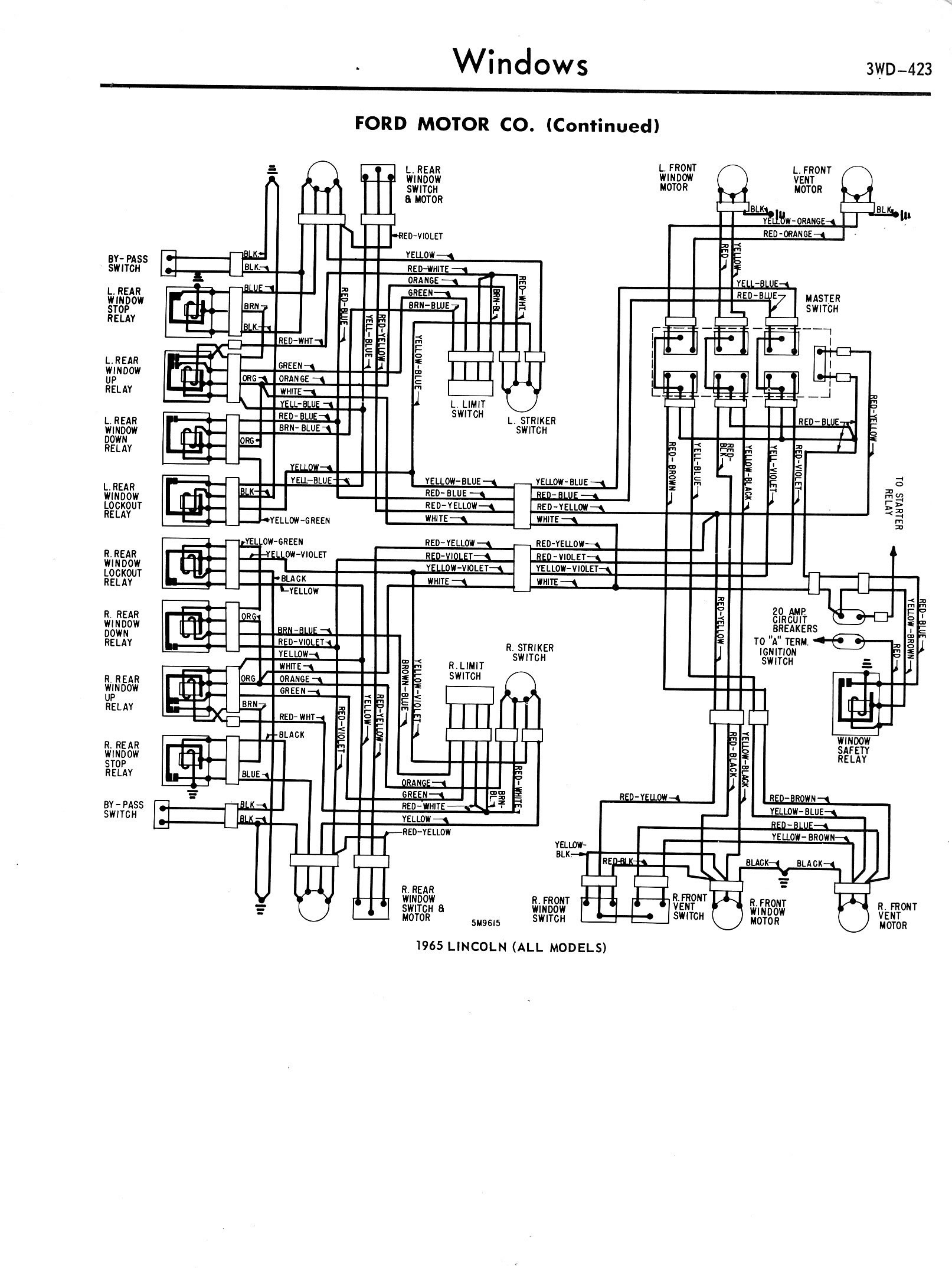 1957 1965 Accessory Wiring Diagrams 3wd 423 Ignition Switch Diagram